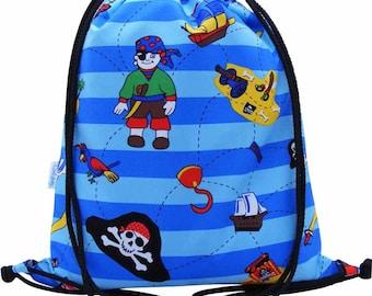 Pirate Drawstring waterproof Backpack, PE Bag or Swim Bag for Kids