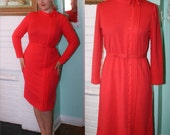 Vintage Dress 70s Sexy Joan Secretary - Coral Wiggle Dress Long Sleeves- Halloween Large to XL Plus Size