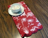 Brick Red Huck Tea Towel with White All Over Flowers / Brick Red Dish Towels