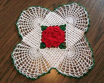 Crocheted Doily / Red Rose Spider Web Design / Three Dimensional Crocheted Red Rose