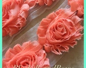 By the yard- New Peach -Shabby Flowers/Shabby Trim/ Shabby Chic --full yard approx. 14 flowers. -1/2 yard, approx. 7 flowers