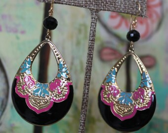 Ornate Black, Turquoise, & Pink Earrings