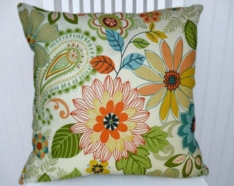 Orange Green Floral Pillow Cover--Decorative Throw Pillow 18x18 or 20x20 or 22x22 Pillow Covers, Lumbar Pillow Cover