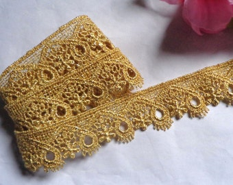 Metallic Venise lace, 1+1/8 inch wide gold color selling by the yard