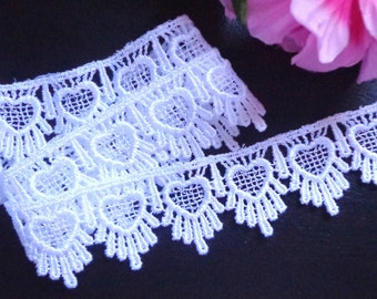 Venise Lace, 1+3/8 inch wide white color selling by the yard