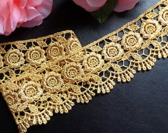 Metallic Venise Lace, 2+1/4 inch gold selling by the yard