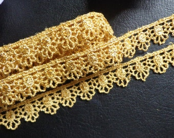 Metallic Venise Lace, 5/8 inch wide gold color selling by the yard