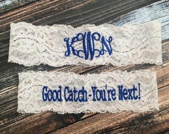 MONOGRAMMED and YOURE NEXT ™ Garter set / Wedding Garter / lace garter / Something Blue