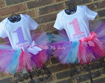 Pink and Lilac Polka Dot Birthday Number Twin Girls Birthday Tutu Outfits-Twin Girls First Birthday Tutu Set-Twin Girls Birthday Tutu Set