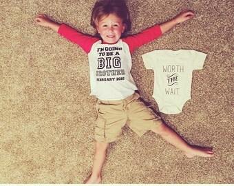 BIG BROTHER announcement shirt - Kid's personalized big bro date raglan baseball shirt