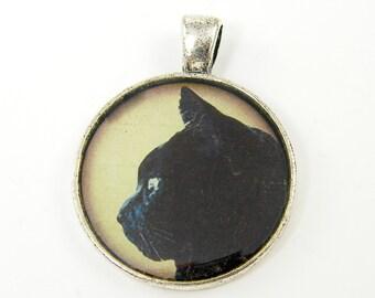 Black Cat Pendant - Silver Black Cat Charm Cat Profile Feline Charm Silver Pet Jewelry