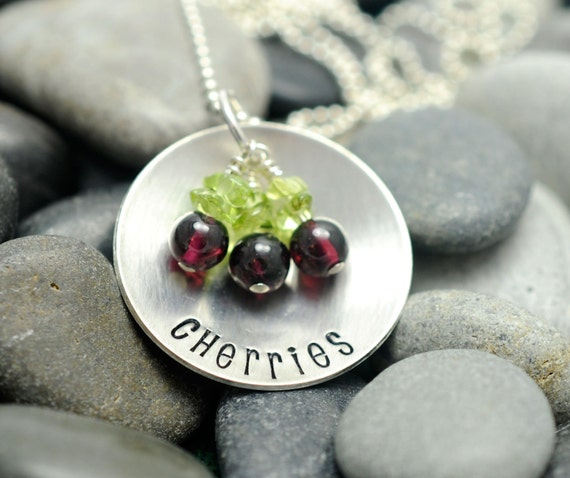 Hand Stamped Necklace - Life is Just a Bowl of Cherries  - Cherry Necklace - Sterling Silver Jewelry - Garnet Pendant
