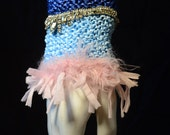 Ribbon Hand Knitted Textile Cuff, Hand Knitted Fiber Jewelry, Blue Ribbons, Vintage Rhinestone Necklace Decoration