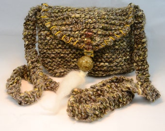 Hand knit long strap embroidered, beaded bag, Jade Bead, Czech faceted beads