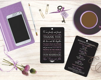 Wedding Itinerary Hang Tags Welcome Thank You