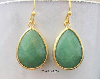 Aventurine Earrings Green Earrings Bridesmaids Gift Jade Green Dangle Earrings Medium Green Earrings Modern Gold Drop Dangling Earrings C1