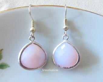 Silver Earrings Pink Opal Earrings Sterling Silver Bridesmaid Earrings Pink Earrings for Bride 14k Gold Filled Earrings