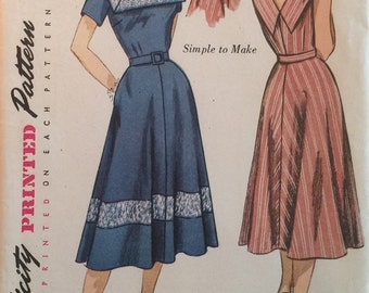 Vintage Sewing Pattern Simplicity Pattern #4347 Sun Dress Day Dress Size 18 1/2 ©1953