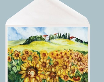 Sunflower Watercolor Art Greeting Card by Dotty Reiman - option to add your personal message inside of card