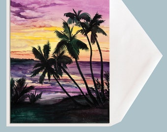 """Tropical Sunset Watercolor Greeting Card by Dotty Reiman titled """"Sunset Silhouette"""" - option to add your personal message inside card!"""