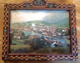 Antique Alpine Folk Art Frame