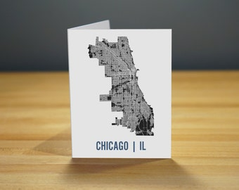 Chicago Map Note Card Stationary A2
