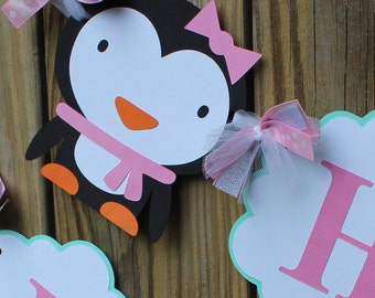 Penguin Birthday Banner/ Winter Onederland Banner/ Winter Birthday