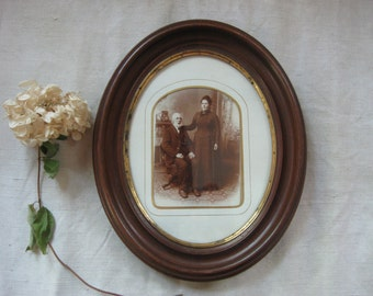 antique oval mahogany frame ~ complete with grumpy instant ancestors