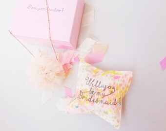 Will you be my bridesmaid necklace Pom pom bee doo