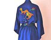 1960's Blue Lucky Dragon Long Kimono Robe - VL363