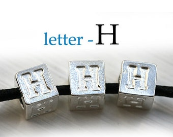 Silver Letter H - Alphabet Letter Beads, 7mm, greek metal letters, cube beads, for leather cord, personalized, 3pc - F313