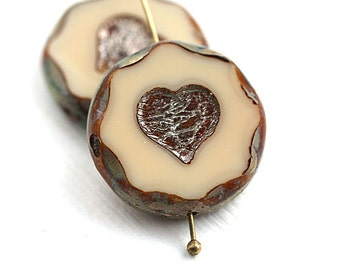 2pc Large Heart beads, Beige Brown hearts, 22mm picasso beads, czech glass heart, table cut - 0365