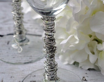 Crystal Clear & Silver Toasting Flutes TABLE SETTING, champagne flute, bridal gift, custom, knife set, special occasion, shower, reception