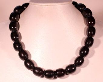 Vintage Art Deco Necklace Bakelite Necklace Beaded Necklace Chubby Beads Necklace Black Beads Necklace Screw Clasp 1930s French Jewelry