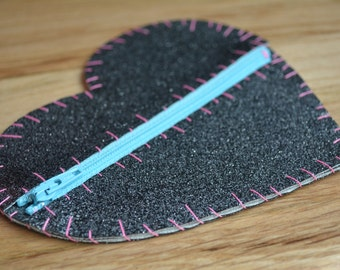 Heart Glitter Vinyl Coin Purse