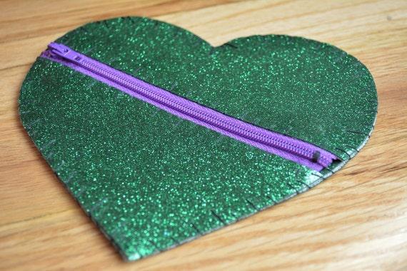 Heart Glitter Vinyl Coin Purse