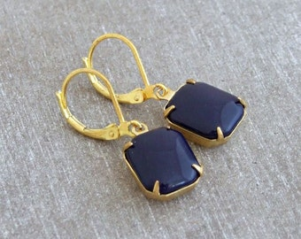 Navy Blue Glass Earrings .. French navy earrings, blue drop earrings, octagon