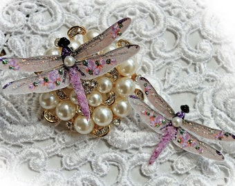 Reneabouquets Dragonfly Set - Shabby Sugar Plum Roses Dragonflies, Scrapbook Embellishment,  Wedding, Home Decor, Party Decoration