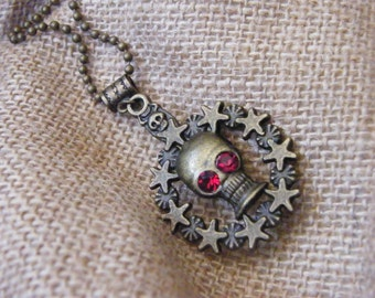 Skull Pendant! Bronze, Skull Pendant, with Blood Red Crystal Eyes! OOAK! Halloween Pendant, Spooky Pendant, Goth Pendant, Unisex Gift