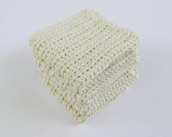 Crochet Set of 4 Washcloths or Dishcloths in Ecru
