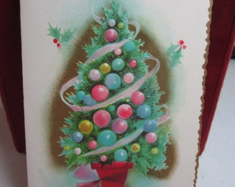Colorful embossed gold gilded 1950's-60's Coronation collection christmas card christmas tree with pastel pink, blue, green,yellow ornaments