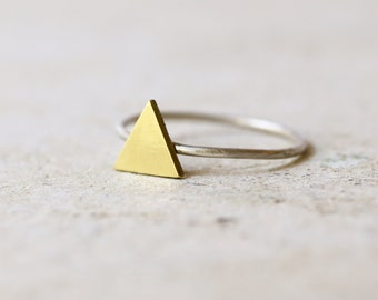 Triangle ring - Geometric Ring - Brass and sterling silver ring