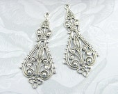 Antiqued Silver Filigree, Earring Dangle, Brass Pendant, Brass Stamping 20mm x 43mm - 4 pcs. (sl115)