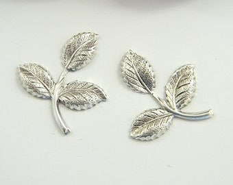 Antiqued Silver Brass Leaf, Brass Leaves, Brass Stamping, Brass Finding 26mm x 29mm - 4 pcs. (sl284)
