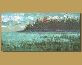 panoramic painting, small art, ocean, abstract art, marsh, turquoise blue, small painting, landscape painting, 10x20, original art