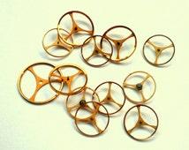 Vtg NOS GOLD-Tone Pocket Watch Balance Wheel Lot, Elegant Steampunk Jewelry, Watch Restoration Horology, Earrings, Bracelet Charms