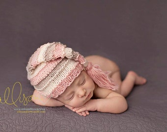 Newborn Hat, Stocking Hat, Pink, Cream, Stone, Photo Prop