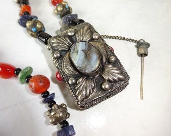 Vintage Perfume Holder Agate Carnelian Beaded Necklace Tibetan Byzantine Style