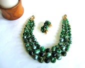 Vintage 3 Strand Jade Colored Necklace and Earrings Clip on Earrings Green Costume Jewelry