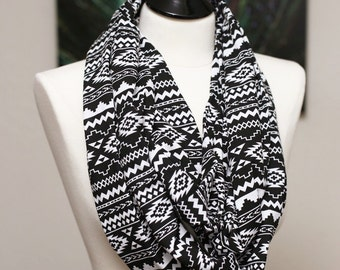 Infinity Scarf - Jersey Knit - Black and White Aztec
